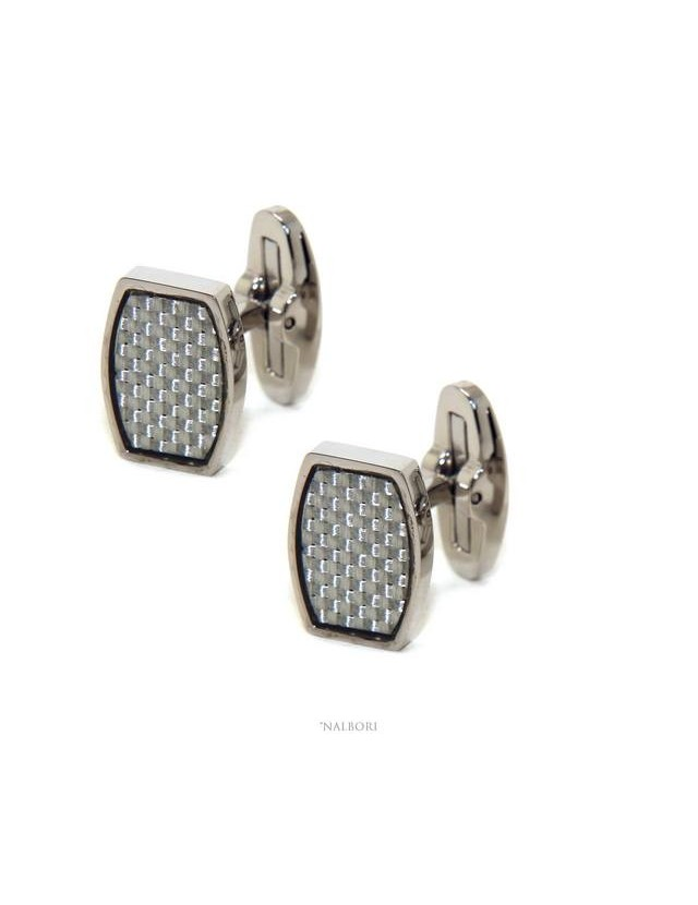 552735 NALBORI men's shirt cufflinks rectangular stainless steel with weft