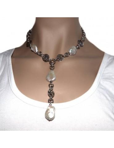 Collana collier argento 925 da donna con grandi perle barocche naturali vere