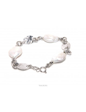 Woman bracelet in 925 sterling silver and baroque baroque pearl