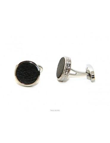 NALBORI gemelli da camicia per uomo bottone tondi acciaio e similpelle nero