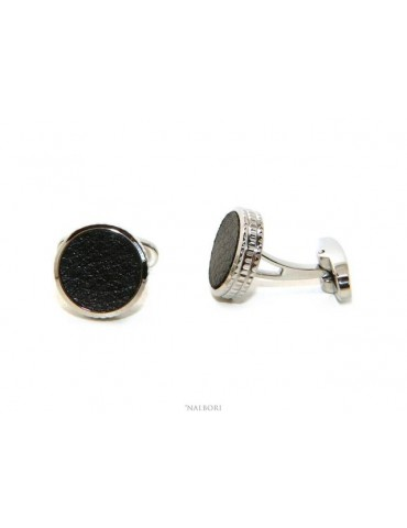 NALBORI shirt cufflinks for men with round buttons in steel and black imitation leather