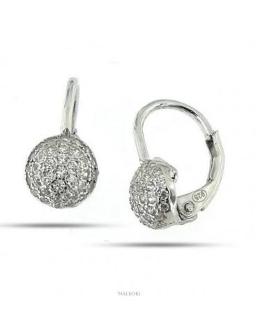 Orecchini gancio monachina zirconi e perle 14 mm argento 925  EARRINGS silver