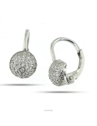Woman or girl earrings in 925 silver with 6.5 mm round with cubic zirconia pavé