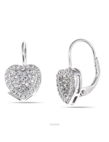Woman earrings in silver 925 silver heart micropavè of cubic zirconia 10mm