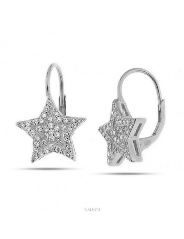 Women's earrings in 925 sterling silver star micropavè cubic zirconia 13mm