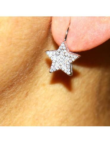Women's earrings in 925 sterling silver star micropavè cubic zirconia 13mm