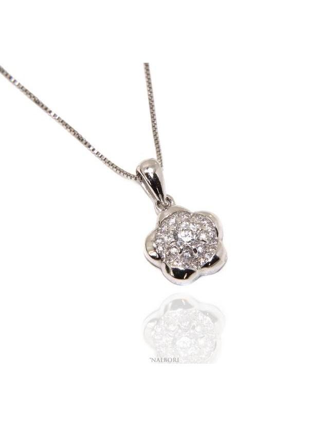 2499ad5e33c1 Silver 925  Necklace Venetian woman necklace with NALBORI flower pendant
