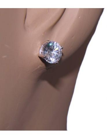 NALBORI orecchini uomo/donna punto luce perno e griffe zircone nero o bianco 7 mm