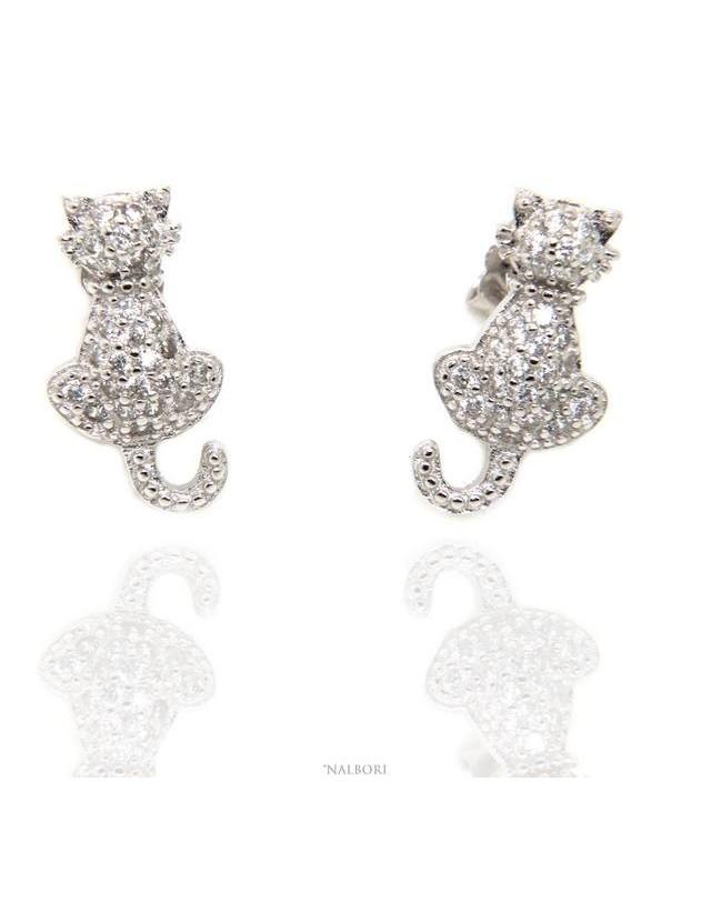 NALBORI orecchini donna argento 925 gatto gattino contrariè pavè di zirconi bianchi
