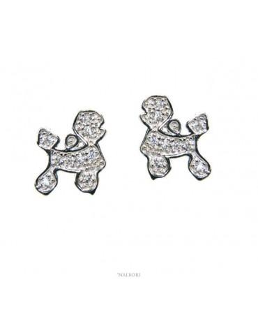 orecchini donna argento 925 con zirconi bianchi cane barboncino NALBORI