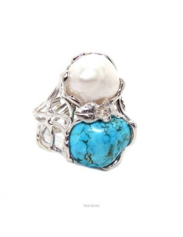 Woman silver 925 adjustable ring made of lost wax with baroque pearl and natural turquoise