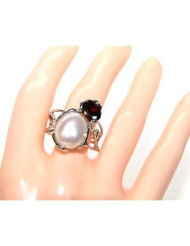 A007 Anello donna argento 925 regolabile realizzato a cera persa con perla barocca e granato rosso scuro  NALBORI