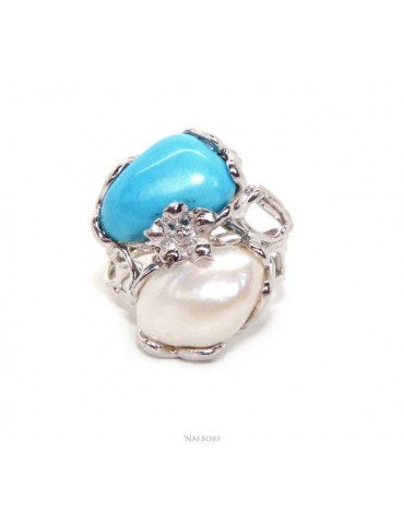 Woman silver 925 adjustable ring made of lost wax with oval baroque pearl and natural turquoise
