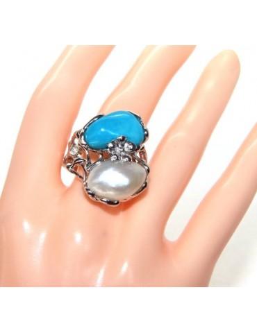 a008 nalbori Anello donna argento 925 regolabile realizzato a cera persa con perla barocca ovale e turchese naturale