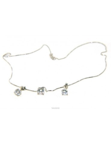 Set of women's 5 mm light point in 925 silver with zircon. Venetian chain pendant and matching earrings