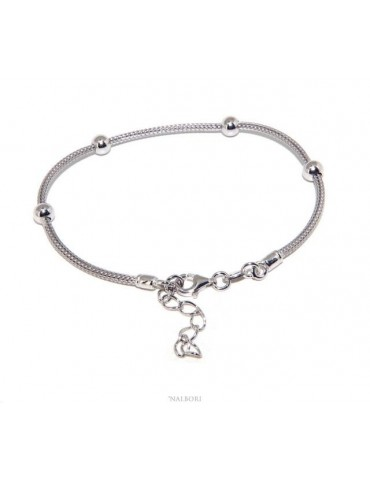 NALBORI ® fox tail bracelet 925 silver cord with smooth balls for men and women