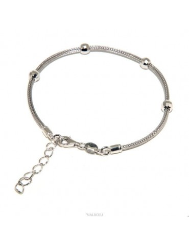 NALBORI ® fox tail bracelet, 925 silver cord with diamond balls for men and women