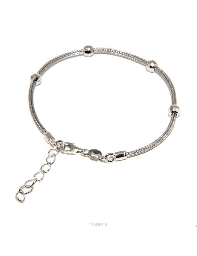 NALBORI ® bracciale fox tail cavetto argento 925 con palline diamantate per uomo e donna