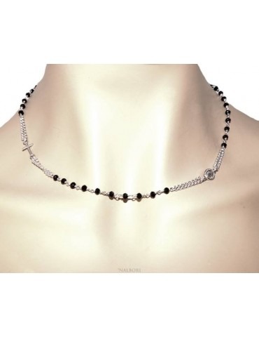 Collana Rosario uomo Argento 925 Con cristallo nero croce e madonna 45+5 cm