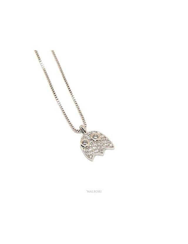 Collier woman Venetian necklace with zircon pavé phantasm pendant NALBORI
