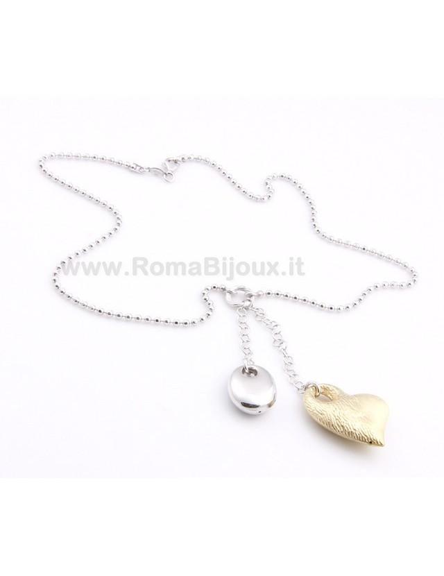 ARGENTO 925: Girocollo Beads Faux Saliscendi con Ciondolo Cuore Giallo