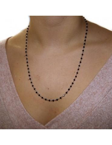 Collana uomo donna Argento 925 Con cristallo nero 3,5 mm lavorazione rosario marsigliese fatta a mano 60+5
