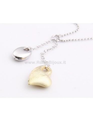 SILVER 925: Choker Beads Faux Saliscendi with Heart Pendant Yellow