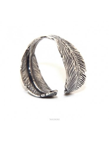 NALBORI® adjustable ring in sterling silver with burnished leaves