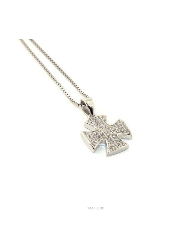 Collier woman Venetian necklace with Maltese pendant with zircons NALBORI