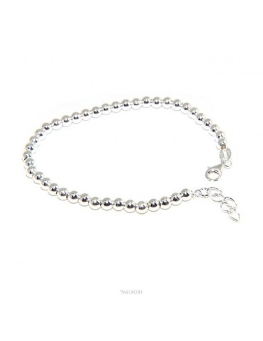NALBORI Bracelet man woman silver 925 balls 4 mm - wrist circumference 16 - 18.50 cm