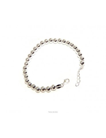 NALBORI Bracelet man woman silver 925 balls 6 mm ultralight wrist cm 15 - 18.50