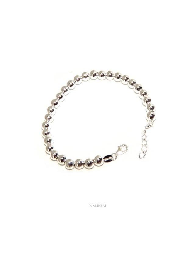 NALBORI Bracelet man woman silver 925 balls 6 mm ultralight wrist cm 15 - 18.50