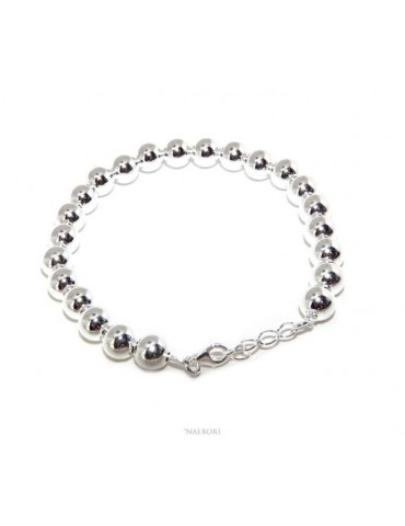 NALBORI Bracelet man woman silver 925 balls 8 mm ultralight wrist cm 16 - 19