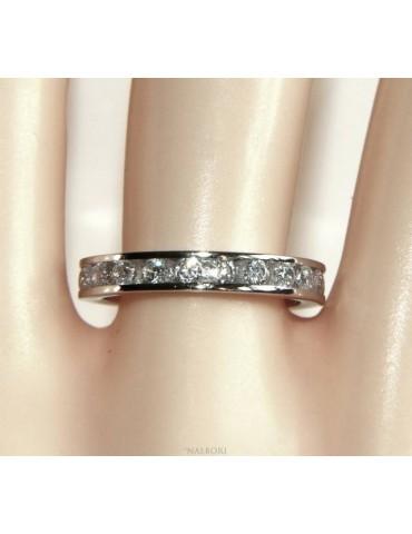 NALBORI 925 silver Rhodium plated Eternity infinity round all white brilliant zircons 2 mm for men or women