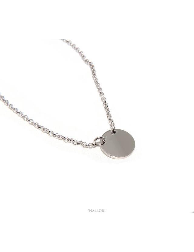 NALBORI woman necklace Silver 925 rolo '45 + 5 with massive round tag