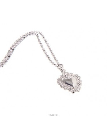 NALBORI collana argento 925 donna rolo' 45+5 con ciondolo sacro cuore ex voto bagno oro bianco