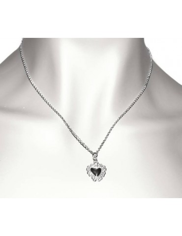 NALBORI necklace 925 silver woman rolo '45 + 5 with sacred heart pendant ex voto bathroom white gold
