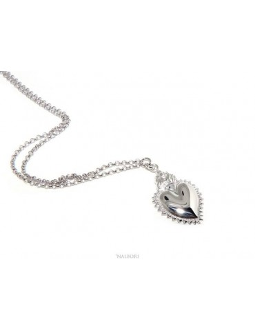 NALBORI necklace 925 silver woman rolo '45 + 5 with sacred pendant heart flame ex voto