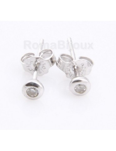 Silver :   earrings woman or man micro chives 2mm cubic zirconia