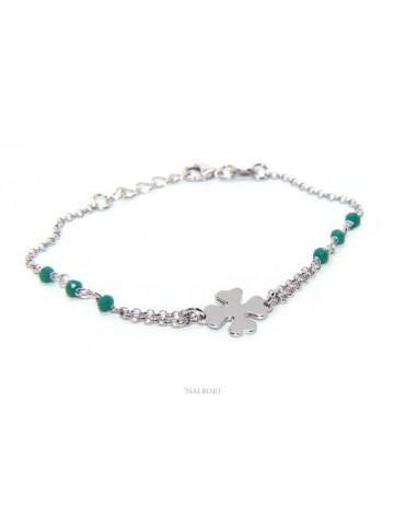 bra_064 NALBORI Bracciale donna Argento 925 lavorazione a rosario cristallo verde con quadrifoglio misura 15-18 cm