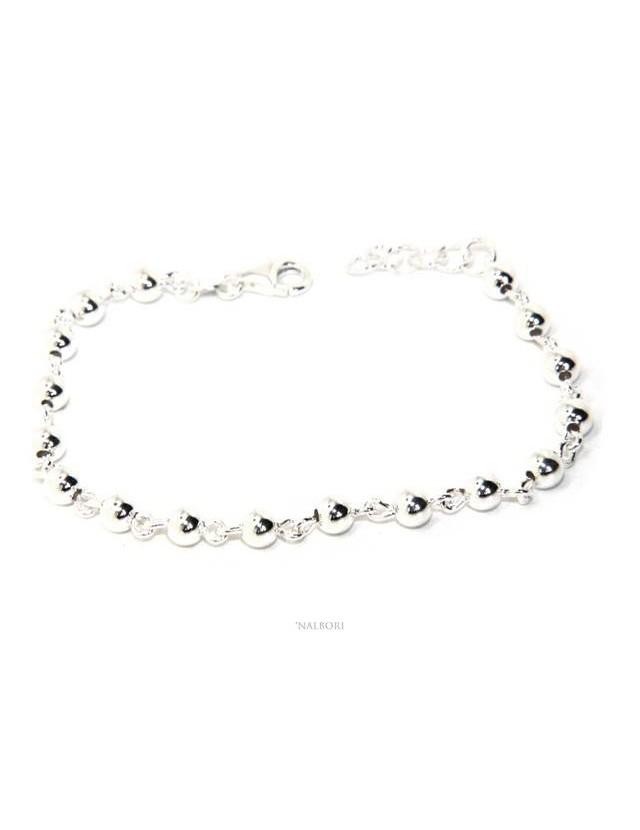 NALBORI bracciale argento 925 sfere 5 mm marsigliese alternate