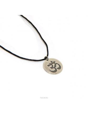 medaglia OM induista meditazione argento massiccio anticato ciondolo charme con laccio omaggio