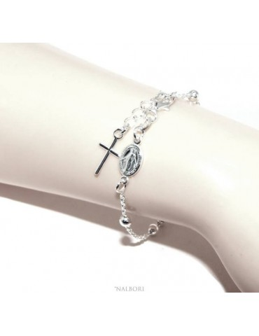Rosary bracelet man woman in 925 Silver Latin cross 16-19 cm balls of 4 mm clear