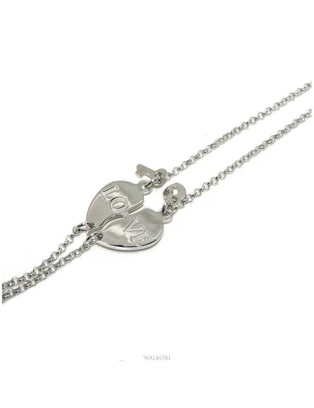 NALBORI Double bracelet HIM and HER written LOVE key padlock Silver 925 broken heart