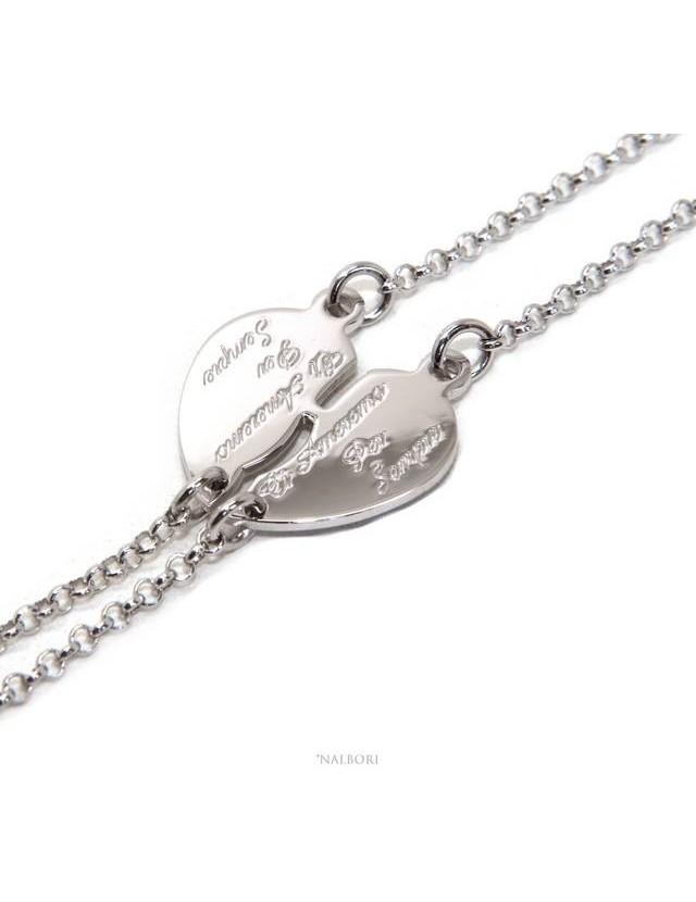 NALBORI Double bracelet HIM and HER written we will love each other forever Silver 925 broken heart