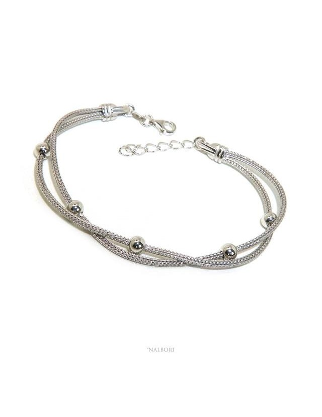 NALBORI 2 cord stand ball bracelet 5mm fox tail 925 silver   for woman 16.5 / 20.5 cm