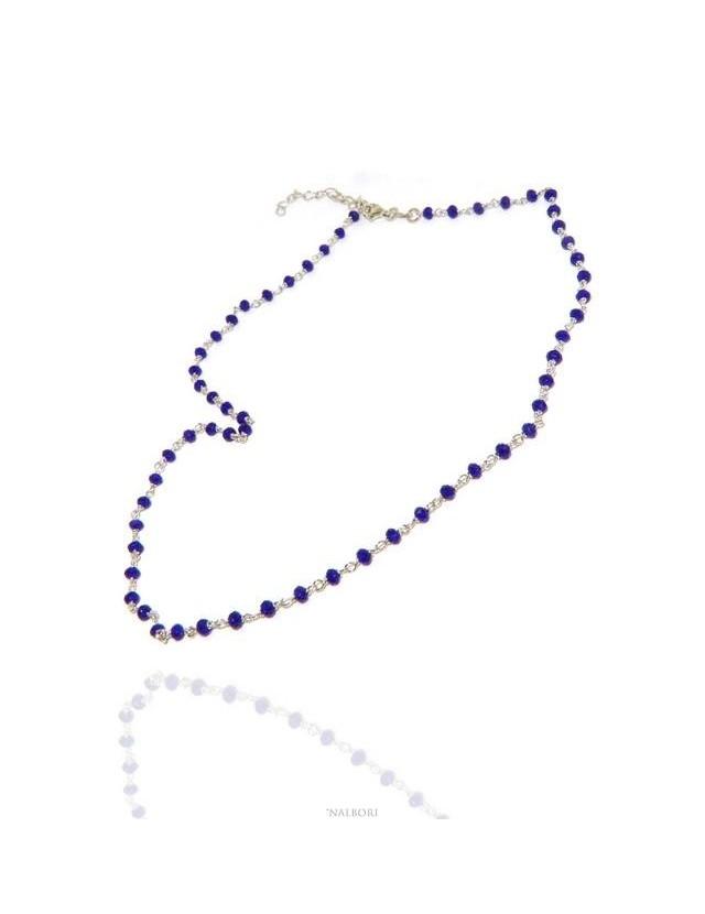 NALBORI marsigliesi collana Argento 925 con cristallo blue blu bluette 3,5 mm fatta a mano 45+5 N0908 NALBORI_0908