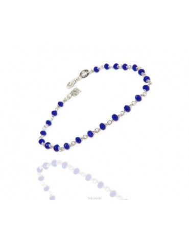 Man woman bracelet 925 Silver With Blue 3 / 3.5 mm crystal processing Marseille rosary handmade