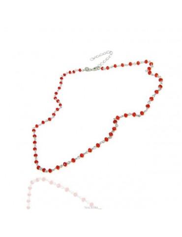 NALBORI N1211 collana argento 925 per donna o uomo con cristallo rosso rubino 3,5 mm marsigliese fatta a mano 45+5