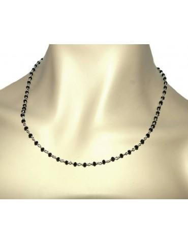 N1212 Collana regolabile Argento 925 Con cristallo nero 3,5 mm linea marsigliesi di NALBORI fatta a mano 50+5